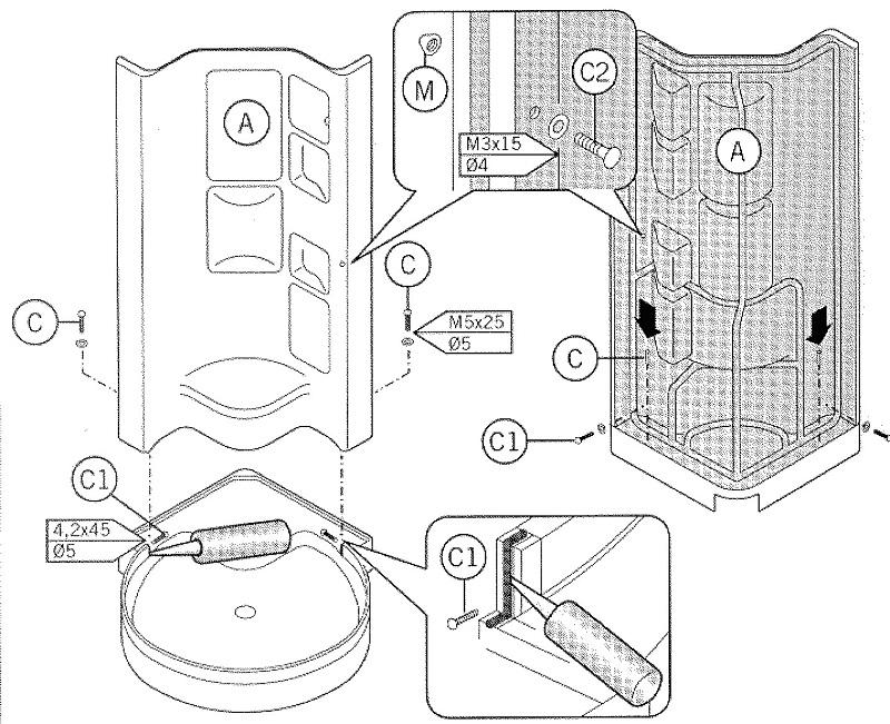 Схема как собрать душевую кабину