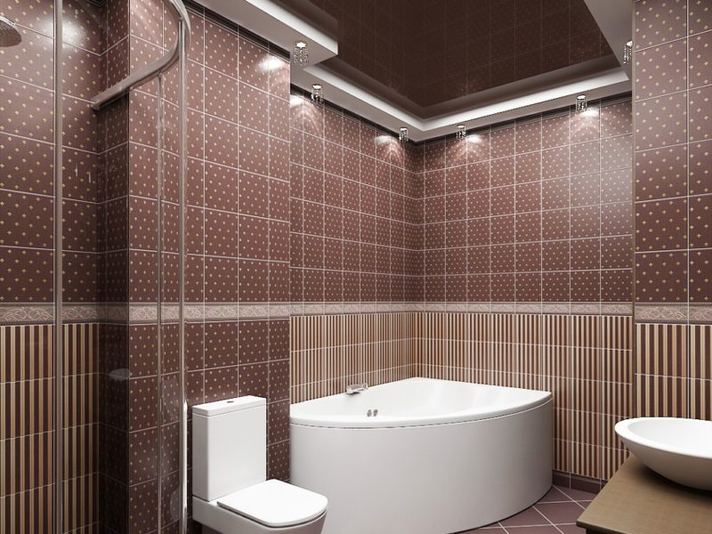 Облицованная плиткой ванная