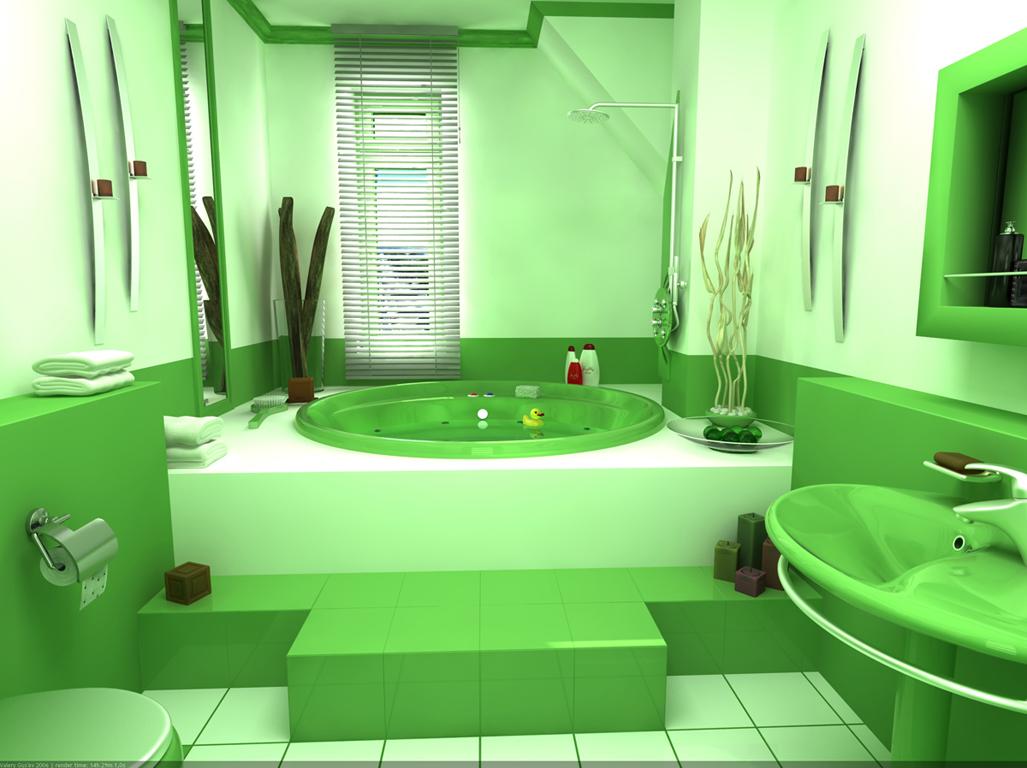 Яркий цвет в ванной