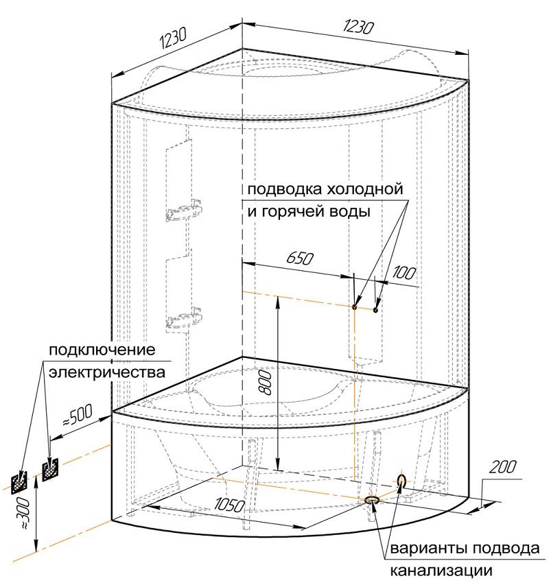 Схема сборки душевой кабины