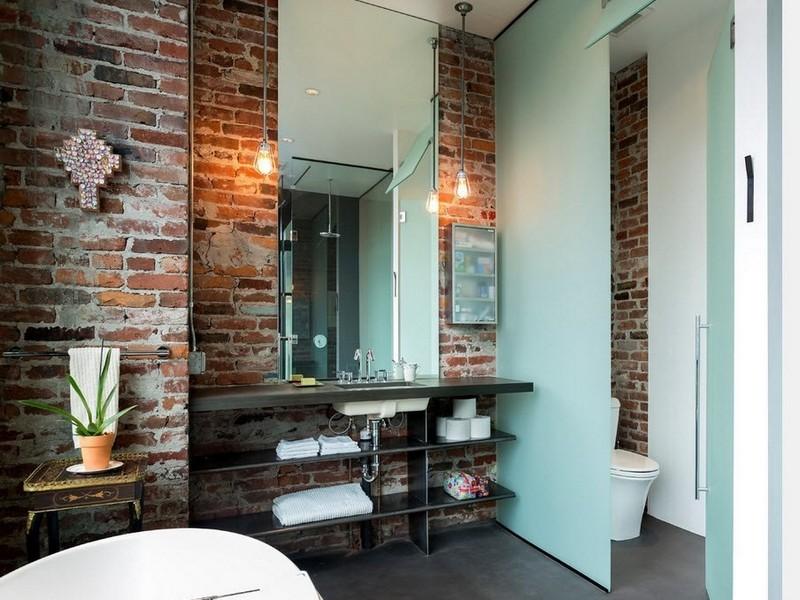 Зеркало в ванной в стиле лофт