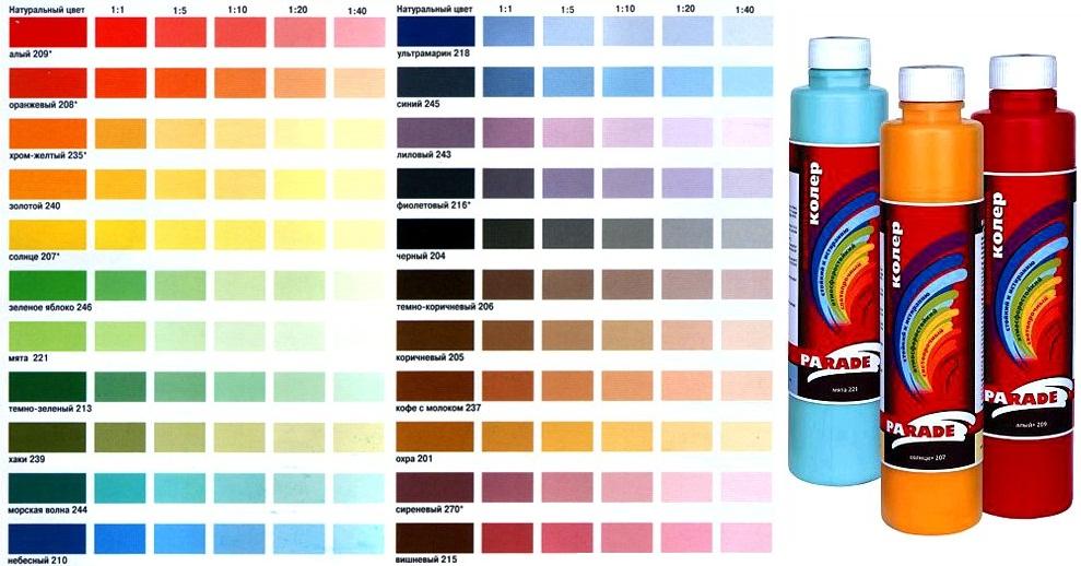 Варианты красок